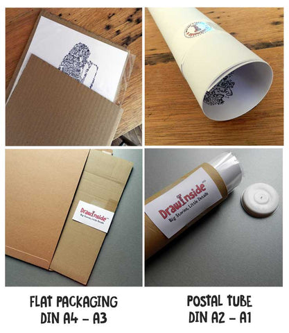 drawinside packaging postal tube flat parcel