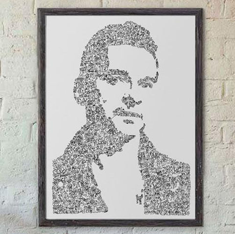 Dave gahan print from a ink drawing