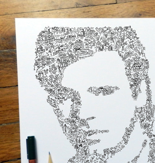 MacGyver doodle ink drawing with intricate ink line