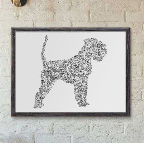 Schnauzer with undocked tail and ears print