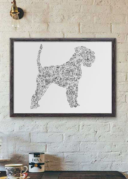 Schnauzer ink drawing with undocked tail and ears silouhette