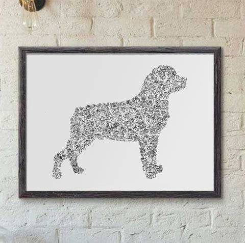Rottweiler dog breed print