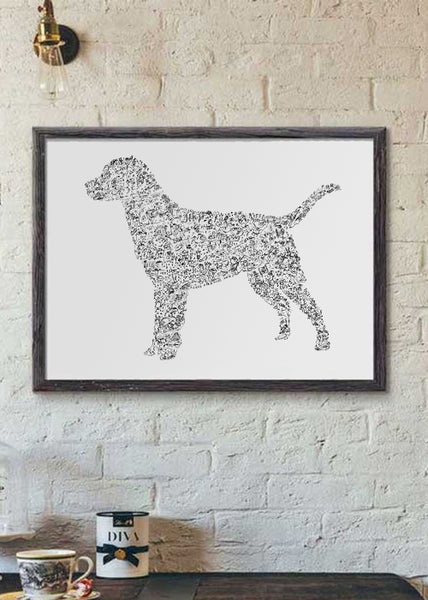Labrador retriever black and white ink drawing