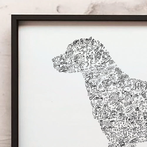 Labrador retriever doodle art ink hand drawing by drawinside