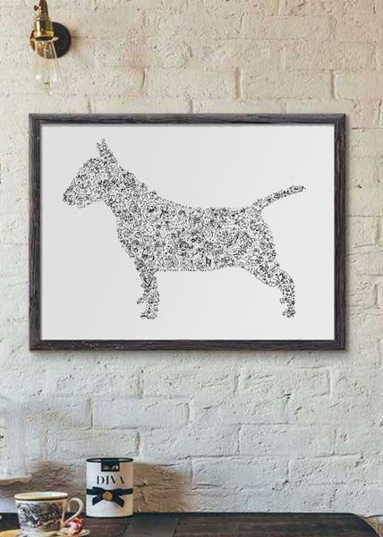 English Bull Terrier silouhette black and white art print
