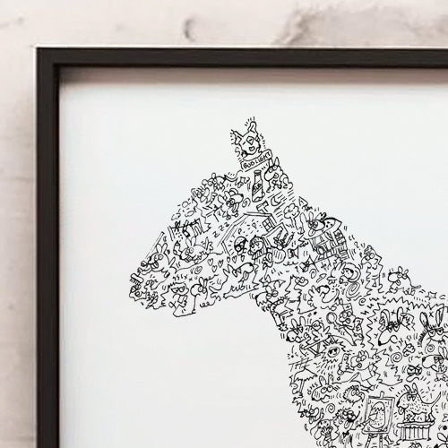 English Bull Terrier doodle art drawing by drawinside