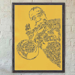 Louis Armstrong doodle art on yellow paper