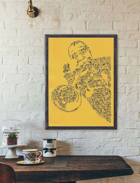 Louis Armstrong ink drawing on yellow paper