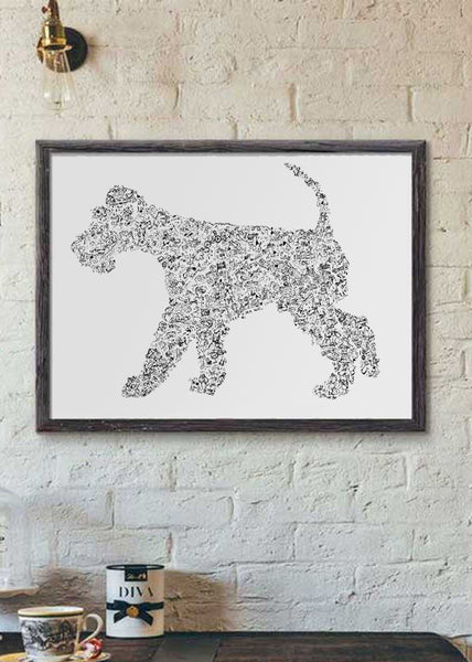 Wire Fox Terrier black and white dog breed poster