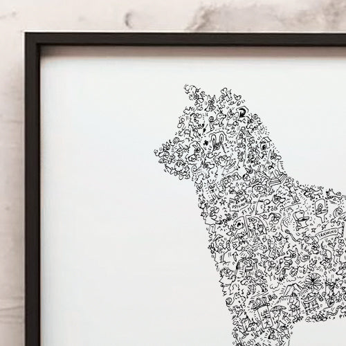 Shiba Inu intricate doodles inside the silouhette of the dog