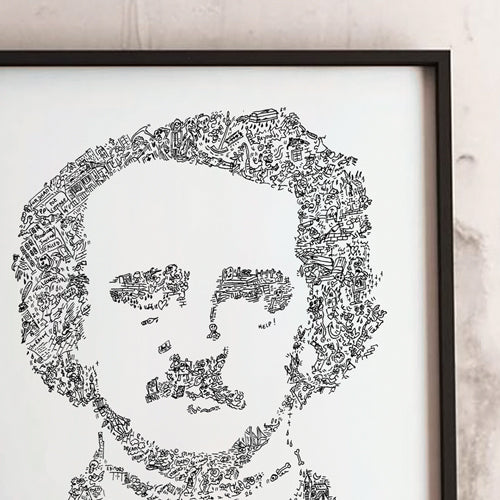 Poe literature poster made of doodles by drawinside