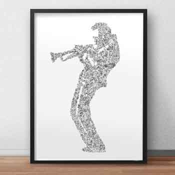 Miles Davis art print biography drawing