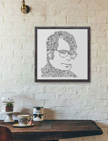 Stephen King black and white square print
