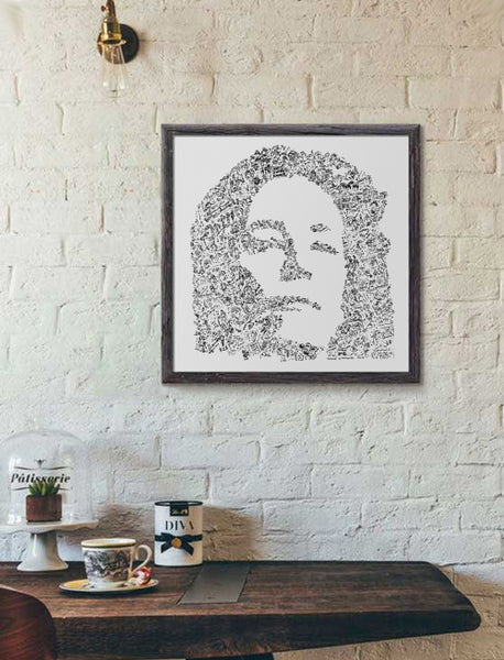 patti smith black and white doodle art print