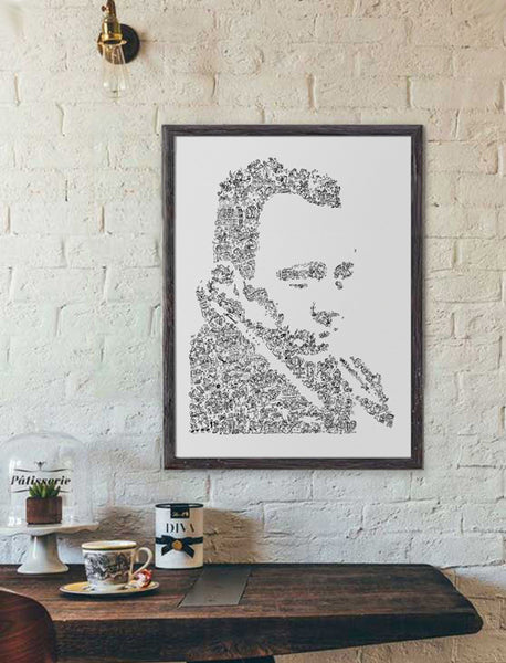Albert Camus ink drawing black and white poster