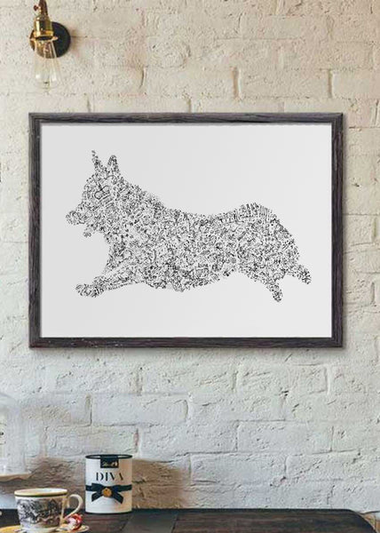 Pembroke Welsh Corgi ink drawing picture