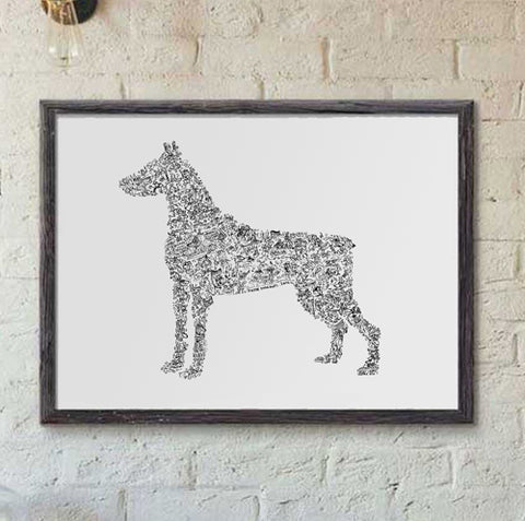 Dobermann ink drawing print