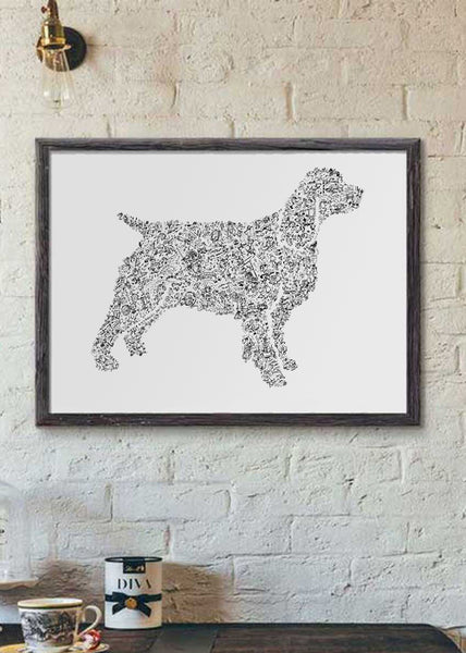 English Springer Spaniel ink drawing hand made