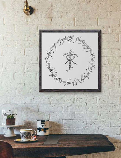 Tolkien logo hand ink drawing by drawinside