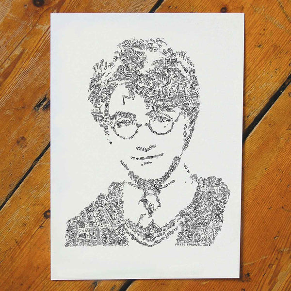 harry potter portrait. unique art poster hard to find gift