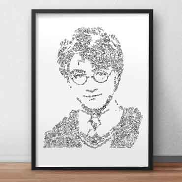 harry potter art print perfect gift portrait with fun doodle details inside