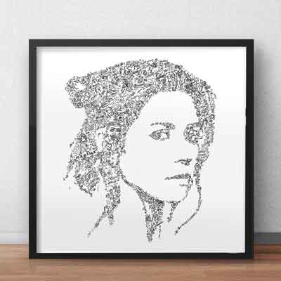 Marina and the diamonds art print ink drawing