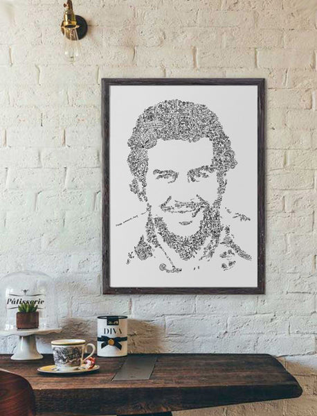 Pablo Escobar ink drawing with doodles