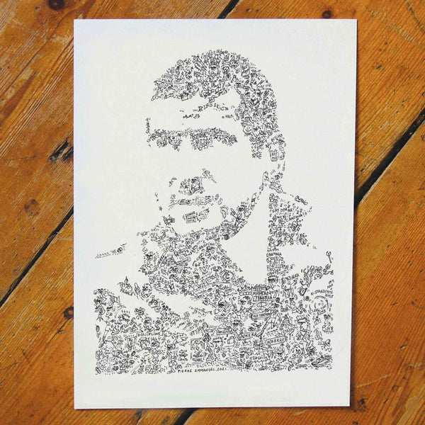 king eric cantona ink drawing with biography