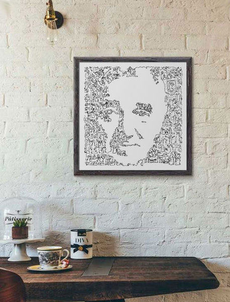 Charles Aznavour ink drawing
