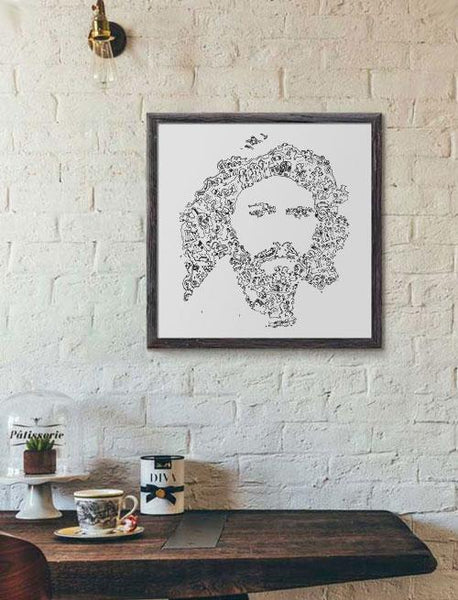 Barry Gibb intricate drawing art with doodle - The Bee Gees poster