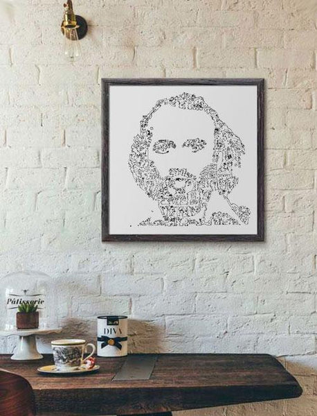 print of Maurice Gibb portrait handmade drawing