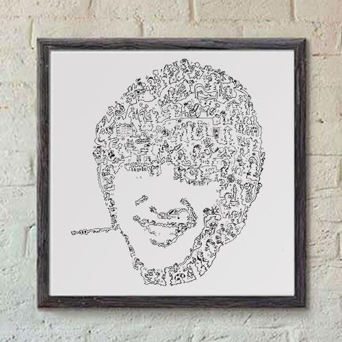 John Lennon Print With Doodle Drawings Inside The Beatles Poster Drawinside