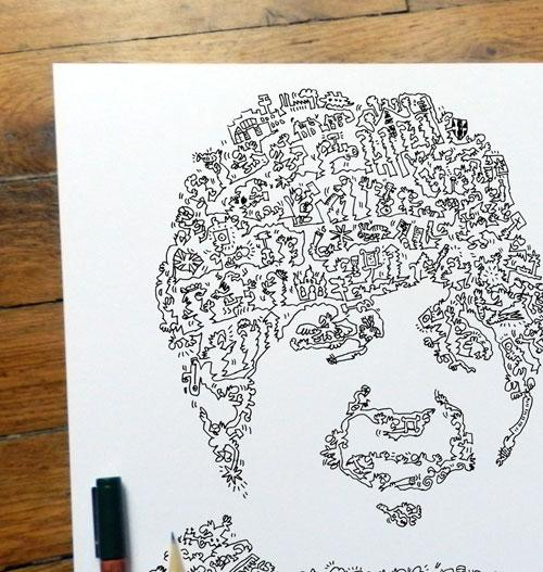 ink drawing of Paul Mc Cartney poster