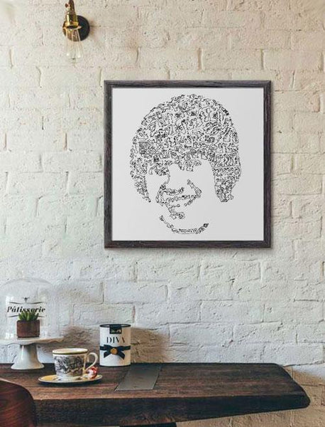 Doodle art drawing of George Harrisson beatles