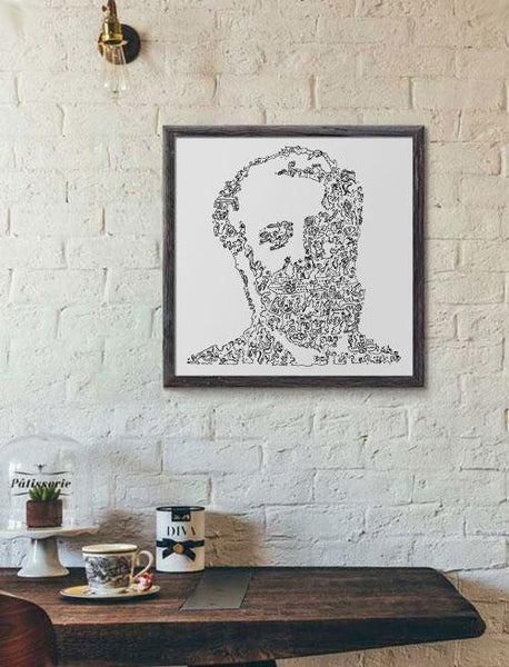 Jules Verne doodle art classic french writer portrait
