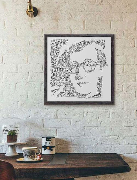 Woody Allen ink drawing portrait