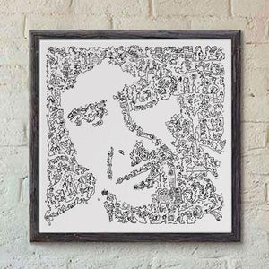 Leonard Cohen black and white print