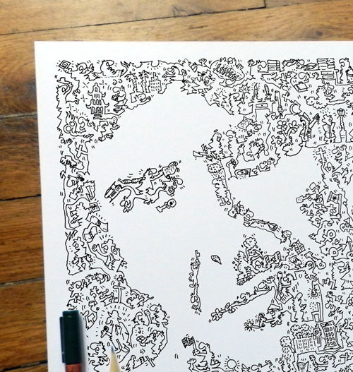 Leonard Cohen ink drawing with doodles