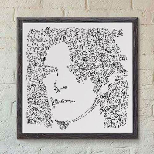 david bowie print black ink scribble art
