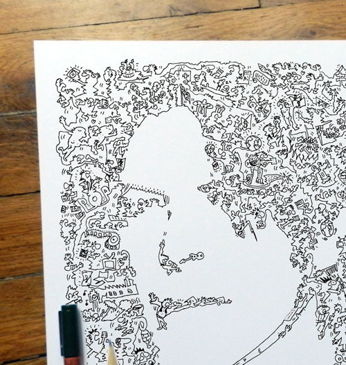 david bowir ink drawing with doodles
