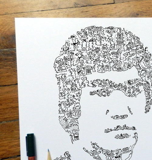 bruce lee portrait with scribbling