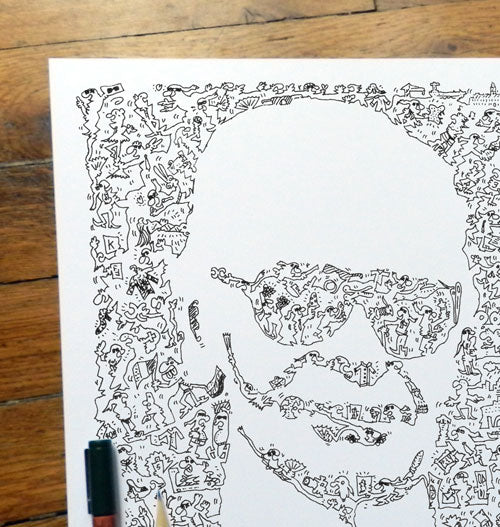 Karl Lagerfeld doodle art drawing