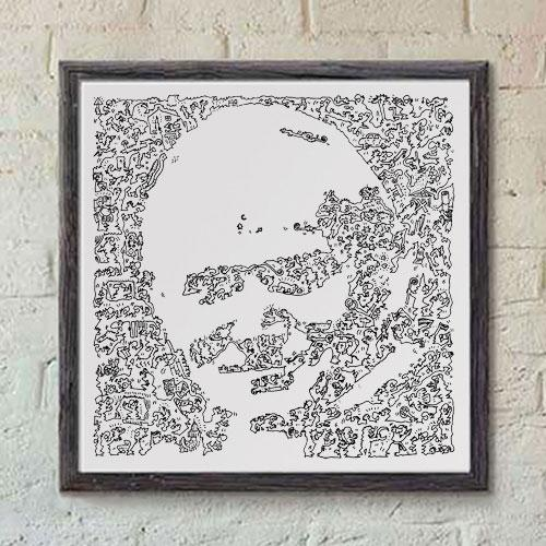 John Paul 2 art print with ink doodles