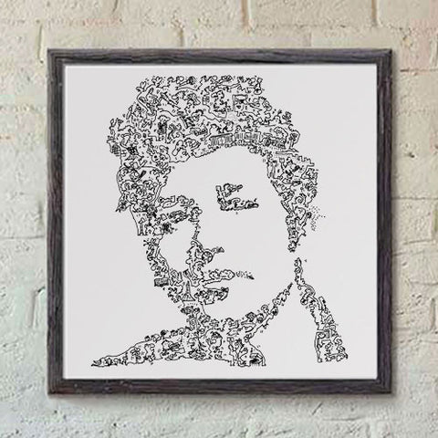 Bob Dylan poster ink hand drawing with doodles