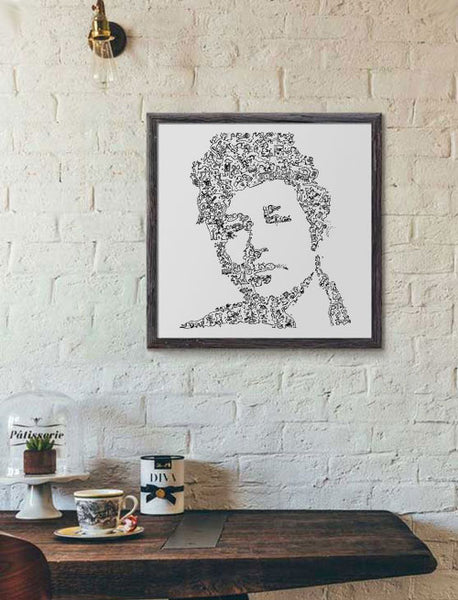 Bob Dylan art print with scribbling art