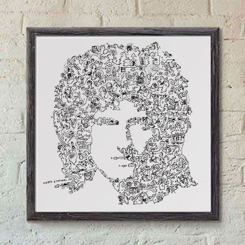 Brian May ink drawing with doodles - Queen