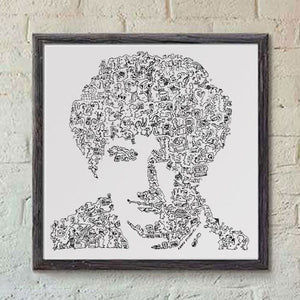 John Deacon print from Queen band. doodle artwork