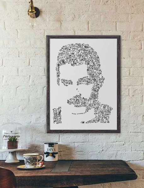 Freddie Mercury ink drawing by drawinside