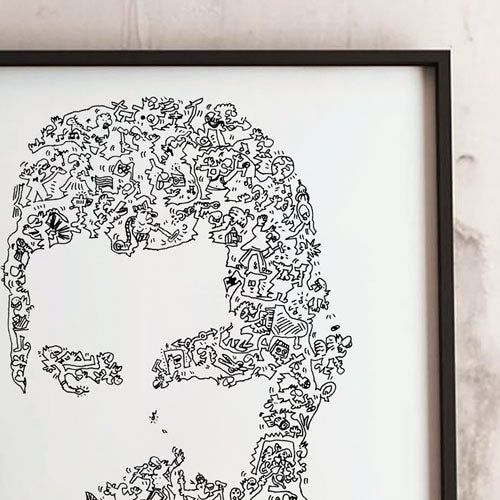freddy mercury drawing details with doodles by pierre emmanuel