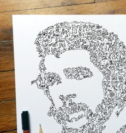Ernesto Che Guevara made of doodles drawings